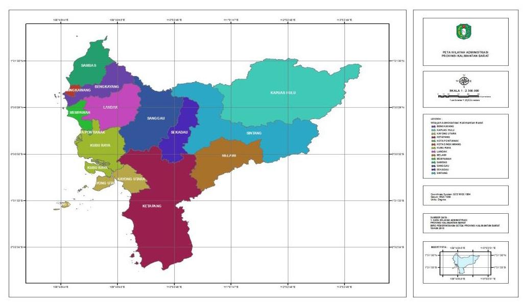 Peta Batas Administrasi Provinsi Kalimantan Barat